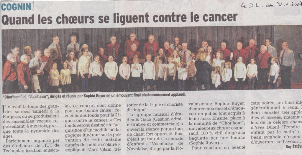 article du DL concert ligue contre le cancer Cognin le 28.1.2017 1024x528